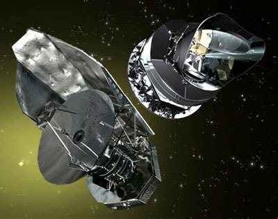 Artist conception of the Herschel and Planck satellites just after separation