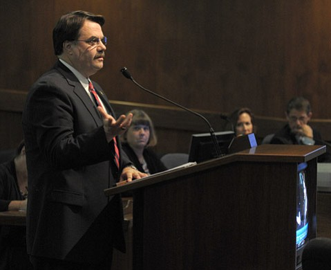 <strong>PAT ON THE BACK:</strong>  Sheriff Bill Brown lauded Prison Health Services, a private contractor, 