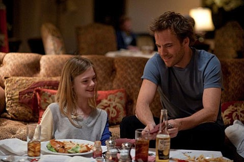 <strong>THERE'S A PLACE FOR US:</strong>  Elle Fanning (left) plays the preteen daughter of a burned-out movie star (Stephen Dorff) in Sophia Coppola's sophisticated meditation on Hollywood hollowness and angst, <em>Somewhere</em>.