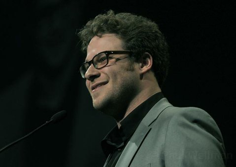 Seth Rogan presenting the SBIFF 2011 Outstanding Performance of the Year Award to James Franco