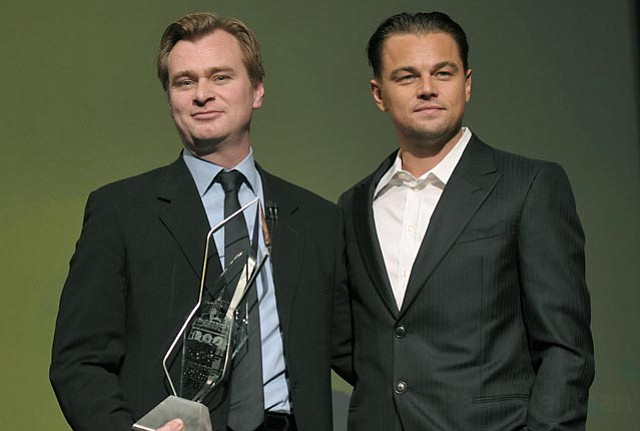 SBIFF 2011 Modern Master Award given to Christopher Nolan, presented by Leonardo Dicaprio, at the Arlington Theatre Jan.30, 2011