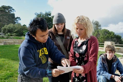 Matt Oquendo, left, directs his two actresses on set at SBCC.