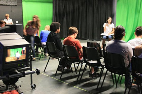 Photo of the Patricia Henley Foundation Santa Barbara Teen News Network's weekly TV show: former SB Middle School Student, Logan Carmody, contributes his teen press program to helping prep his abilities to think quick on his feet, to become a floor director for a live TV show.