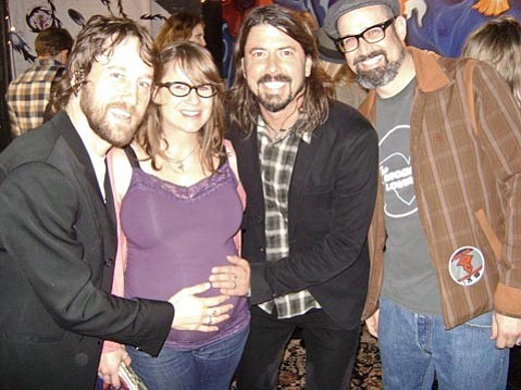 """Nerf Herder's Steve Sherlock (right) once played in a band with Chris Shiflett (left), and was happy to have Dave Grohl (center) bless the unborn baby in his wife's womb after the show on Friday night. Said Steve, """"She will undoubtedly be born into greatness!"""""""