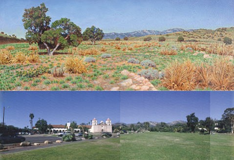 <strong>MISSION LAWN, PRE-MISSION?</strong>  Laura Cunningham combines the scientific skill of a wildlife biologist with the artistic creativity of a painter to produce landscapes such as the one above, a vision of the land where the Santa Barbara Mission now sits. The accompanying photograph (below) is of the same scene, circa 2003.
