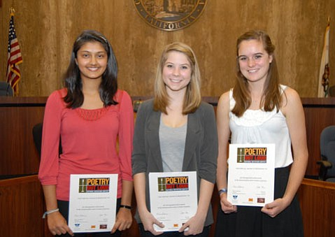 Winners of the County Arts Commission's 5th Annual Poetry Out Loud Competition are from left to right: Dos Pueblos High School students Rishika Singh, 3rd place, Courtney Cambron 1st Place, and Haley Peterson 2nd Place Runner Up. Courtney will represent Santa Barbara County at the Poetry Out Loud State final in Sacramento on March 20 and 21.