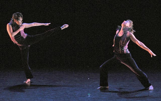 "Irene Watson (left) and choreographer Amythyst Fritzler in ""Chesty as a Peacock."""