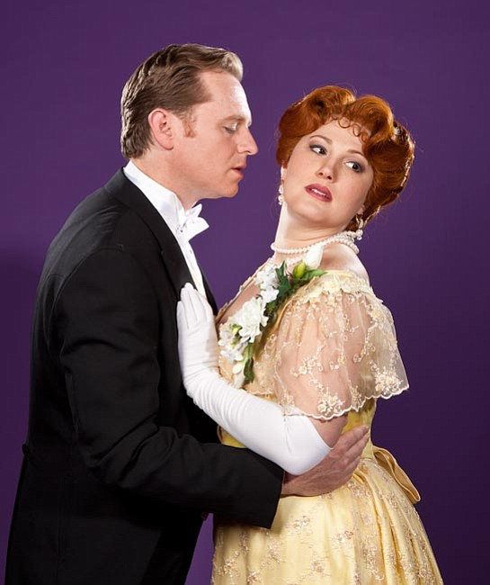 Ryan MacPherson as Alfredo and Rebecca Davis as Violetta in Opera Santa Barbara's production of <em>La Traviata</em>.