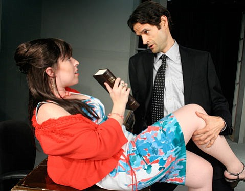 Ashley Saress Lemmex and Tim Mahoney in SBCC Theatre Arts Department's production of <em>Tartuffe</em> by Molière, directed by R. Michael Gros.