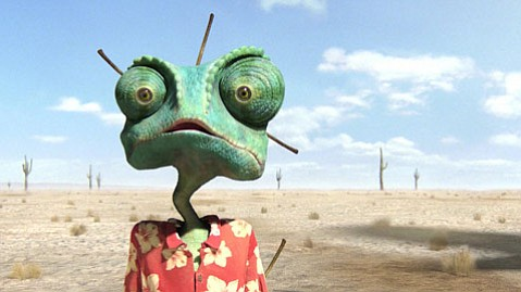 <strong>THE UGLY:</strong>  Johnny Depp voices the titular chameleon among a cast of ragtag reptiles in the allusion-heavy animated Western <em>Rango</em>.