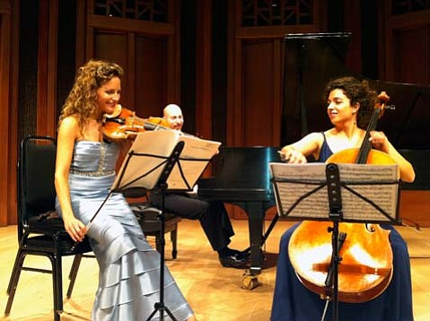 """Catherine Leonard, Adam Neiman, and Ani Aznavoorian played Beethoven's """"Archduke"""" trio at Camerata Pacifica's March concert."""