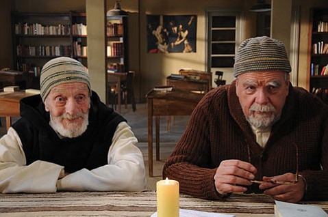 <strong>TRAPPED:</strong>  In <em>Of Gods and Men</em>, Jacques Herlin (left) and Michael Lonsdale play French Trappist monks stationed in an Algerian community that is threatened by extremists.