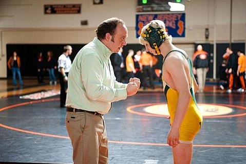 <strong>BI-WINNING:</strong>  In slice-of-life winner <em>Win Win</em>, Paul Giamatti (left) stars as a wrestling coach who takes a young wrestling champ (Alex Shaffer) under his wing for reasons both kind and questionable.