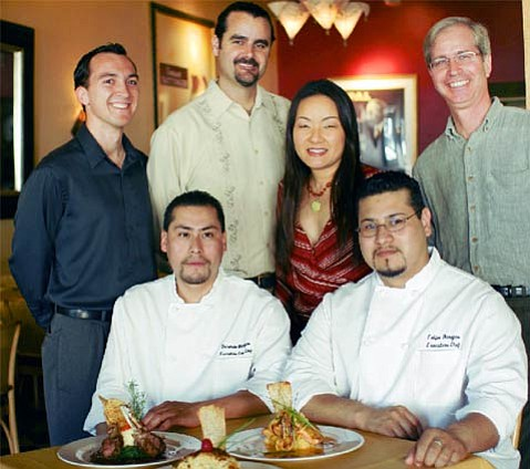 (left to right) Joseph Granado (manager), Gerardo Barajas (executive sous chef), Ron Tice (manager), Tina Takaya (owner), Felipe Barajas (executive head chef), Richard Yates (owner).