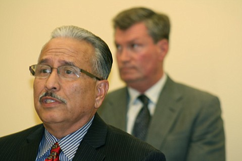 <strong>SHORTLISTED:</strong>  When Police Chief Cam Sanchez (foreground) and city officials announced the filing of a gang injunction in March, they described the 30 individuals on the list as the worst of the worst.