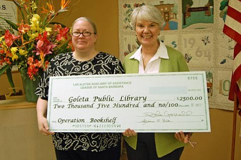 Allison Gray, Goleta Librarian is on the left and Stevie Kreter, Operation Bookshelf Chairman is on the right.