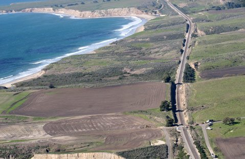Bird's-eye view of controversial landscaping at Bixby Ranch.