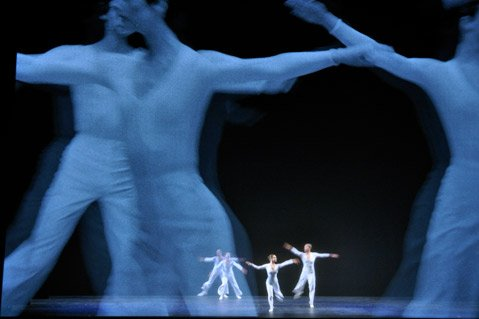 Dancers perform to projections by filmmaker Sol LeWitt and a score by Philip Glass in Dance, which comes to The Granada this Tuesday, May 10.