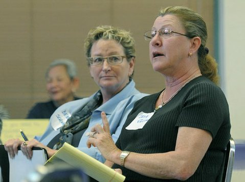 Deborah Schwartz (left) and Iya Falcone at a Democratic Planning forum March 5, 2011
