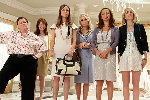<strong>WIIGIN' OUT:</strong>  Kristen Wiig (right) leads an oddball ensemble cast as a maid-of-honor with some major issues in the hilarious and heartfelt Judd Apatow-produced <em>Bridesmaids</em>.