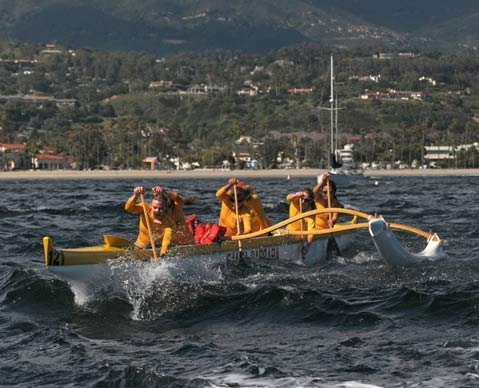 Paddlers train for the Hawai'i Ka-iwi Channel race, which takes place off Moloka'i in September.