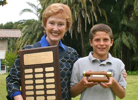 Marymount of Santa Barbara celebrated fifth grader Andrew Giller as he received the first Debbi David Kaleidoscope Award.