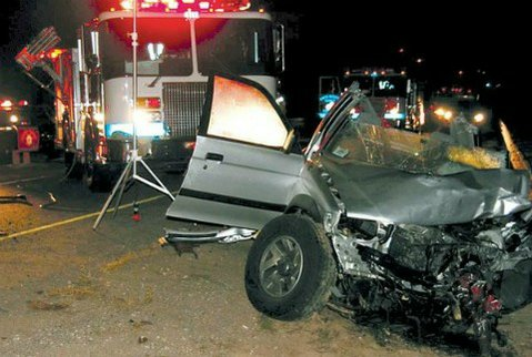 Aftermath of the November 2009 wrong-way-driver accident that killed Marcos Arredondo