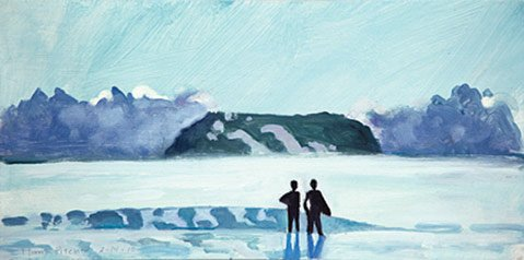 """Two Figures and a Wave"" by Hank Pitcher"
