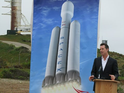  Lt. Governor Gavin Newsom speaks during groundbreaking of Falcon Heavy launch pad at Vandenberg Air Force Base