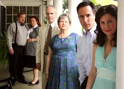 From right: Megan Blakeley (Maggie), Gordon Carmadelle (Gordon), Kenlyn Kanouse (Big Mama), Oh Rhyne (Big Daddy), Ariella Fiore (Mae) and Jeffrey Olin (Gooper)