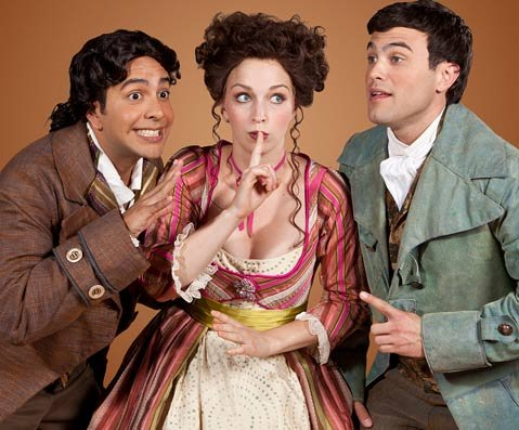 The Music Academy's production of Rossini's <em>The Barber of Seville</em> stars (from left) José Rubio (Figaro), Julia Dawson (Rosina), and Marco Stefani (Count Almaviva).