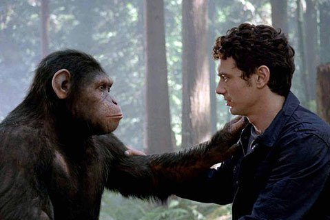 <strong>MODERN PROMETHEUS:</strong>  Simians gain higher intelligence thanks to the Frankenstein-like tinkering of a researcher (played by James Franco) in <em>Rise of the Planet of the Apes</em>.