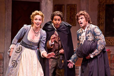 <strong>FROM LEFT:</strong> Julia Dawson as Rosina, José Rubio as Figaro, and Marco Stefani as Count Almaviva in the Music Academy's production of <em>The Barber of Seville.</em>