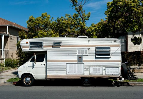 Fantastic  Two Story Custom RV With A Truck Cab Sitting In The Parking Lot