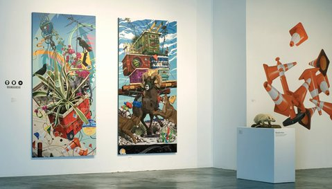 The Contemporary Art Forum's Call for Entries installation includes Luke Matjas's Man Bread Destiny series (left).