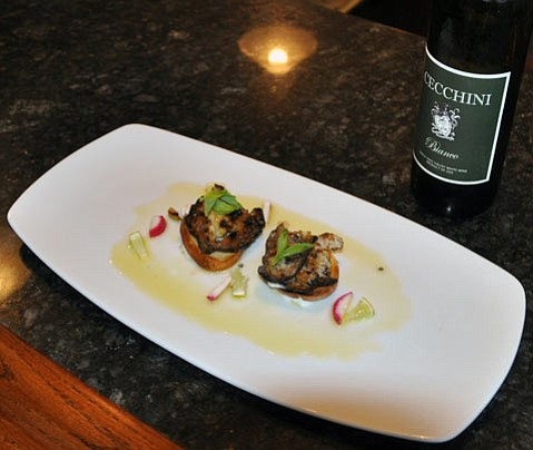 BBQ abalone over golden beets