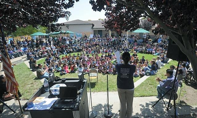 Harding School celebrates dramatic jump in performance test scores.