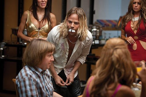 <strong>BLEH AND BLUE:</strong>  Nick Swardson (bottom left) plays a rube-turned-wannabe-porn-star opposite Stephen Dorff in the lowbrow and laugh-free <em>Bucky Larson: Born to Be a Star</em>.