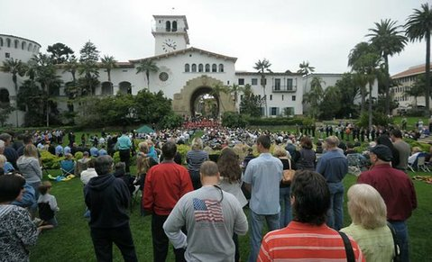 9/11 ceremony at the courthouse's Sunken Gardens