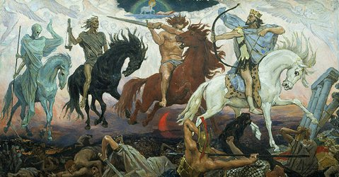 """Four Horsemen of the Apocalypse"" by Viktor Vasnetsov, painted in 1887."