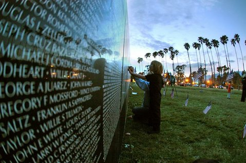 The Moving Wall, a half-size replica of the Vietnam War memorial, visits Santa Barbara in 2005