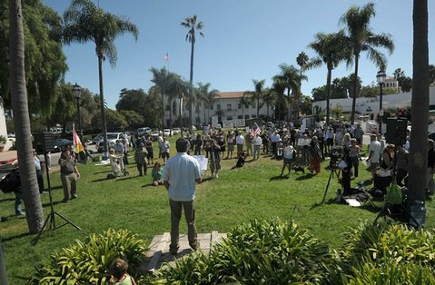 Occupy Santa Barbara protest in De La Guerra Plaza