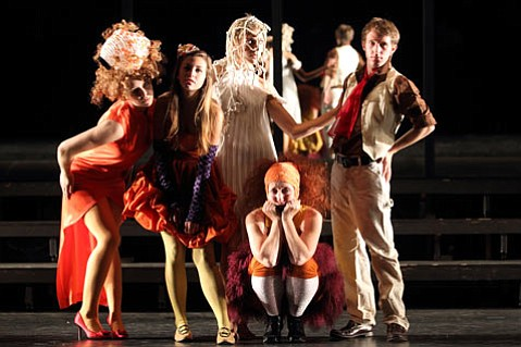 Paige Pautz, Lauren White, Shawnee Witt, Victoria Finlayson (sitting) and Chris Wagstaff in Part 1 of Lit Moon's new production of <em>Peer Gynt</em>.
