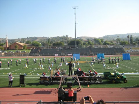 San Marcos High School Marching Band and Colorguard competing at the Baldwin Park Field Competition