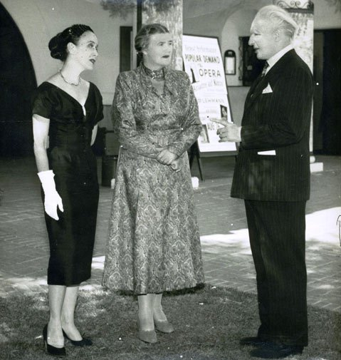 Left to right:  Martha Graham, Lotte Lehmann, and Leopold Stokowski in front of Lobero Theatre, Pacific Coast Music Festival, 1955