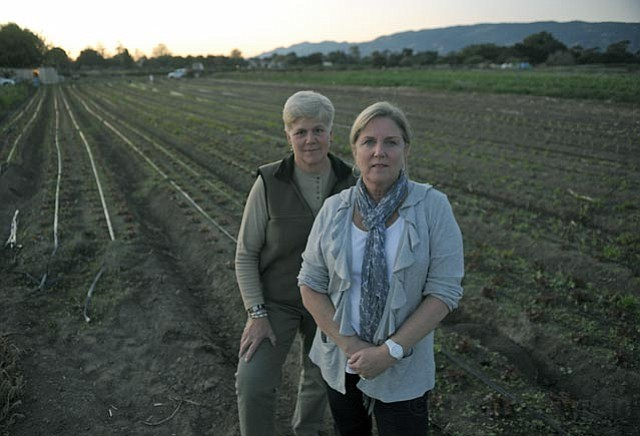 "<strong>GROWING OPPOSITION:</strong> Barb Kloos (right) has lived in the Eastern Goleta Valley for 25 years, but is ""very, very nervous"" that the region's semi-rural lifestyle could change because the state is forcing the county to consider changing farmland into high density housing. She, Terri Ortega (at left), and others involved with the Eastern Goleta Valley Coalition also fear proposed secondary uses for the remaining ag lands, such as bed-and-breakfasts. ""This is a huge policy,"" said Kloos. ""It's not like you want to add 10 parking space at Vons."""