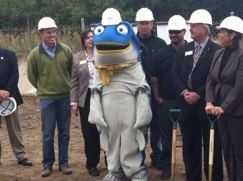 Sammy the Steelhead was present during the San Jose Creek Improvement Project groundbreaking
