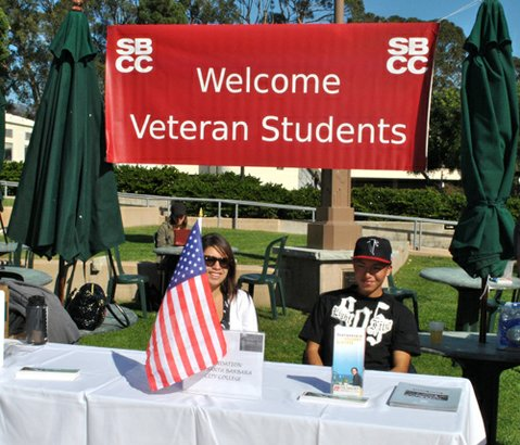 SBCC students Ana Aguilar and Jose Alba greeted veterans and guests at the Foundation for SBCC table at the college's Veterans Recognition and Awareness Day.