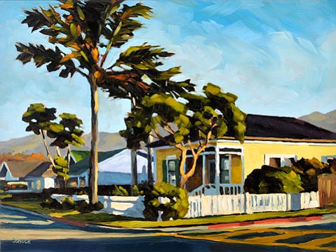 """""""Corner House"""" by Sharon Schock, part of the Small Gems exhibit at Divine Inspiration Gallery of Fine Art."""