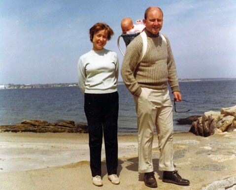The author as a baby, with her mother and father, Dr. Morton Heafitz, MD.
